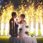 Scenografia taglio torta matrimonio fuochi artificiali